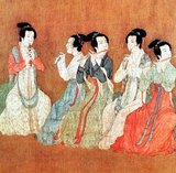 The Night Revels of Han Xizai is a painted scroll depicting Han Xizai, a minister of the Southern Tang Emperor Li Yu (937-978). This narrative painting is split into five distinct sections: Han Xizai listens to the pipa, watches dancers, takes a rest, plays string instruments, and then sees guests off.<br/><br/>  The original, painted by Gu Hongzhong (937-975), is lost, but a 12th century copy, housed in the Palace Museum in Beijing, survives (pictured here).